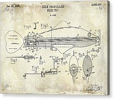 1949 Artificial Fish Lure Patent Drawing Blue Acrylic Print