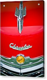 1949 Chrysler Town And Country Convertible Hood Ornament And Emblems Acrylic Print by Jill Reger