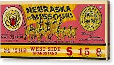 1949 Football Ticket - Nebraska Vs Missouri Acrylic Print by David Patterson