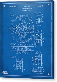 1949 Movie Film Reel Patent Artwork - Blueprint Acrylic Print