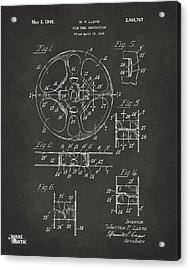 1949 Movie Film Reel Patent Artwork - Gray Acrylic Print