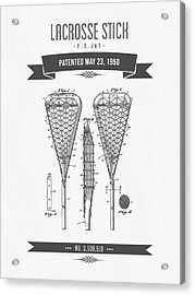 1950 Lacrosse Stick Patent Drawing - Retro Gray Acrylic Print by Aged Pixel