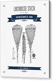 1950 Lacrosse Stick Patent Drawing - Retro Navy Blue Acrylic Print by Aged Pixel