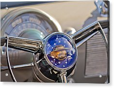 1950 Oldsmobile Rocket 88 Steering Wheel Acrylic Print by Jill Reger