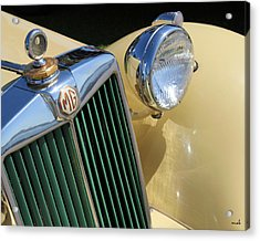 1950 Yellow Mg Grille Acrylic Print by Mark Steven Burhart