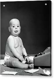 1950s 1960s Baby In Diaper Sticking Acrylic Print