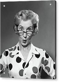 1950s 1960s Portrait Woman Polka Dot Acrylic Print