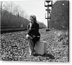 1950s 1960s Woman Sad Worried Facial Acrylic Print