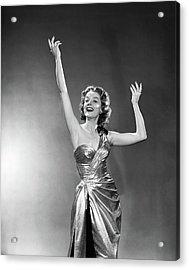 1950s 1960s Woman Smiling Arms Raised Acrylic Print