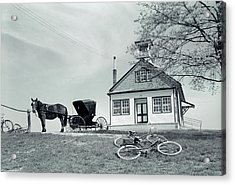 1950s Amish One-room Schoolhouse At Top Acrylic Print