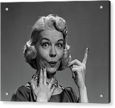 1950s Blond Woman Lips Pursed In Funny Acrylic Print