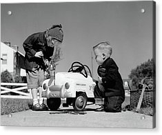 1950s Boy And Girl Playing At Repairing Acrylic Print