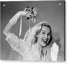 1950s Bride Throwing Bouquet And Waving Acrylic Print