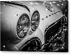1950's Chevrolet Corvette C1 In Black And White Acrylic Print by Paul Velgos