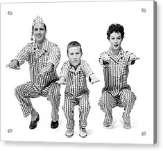 1950s Family Of 3 In Matching Pajamas Acrylic Print