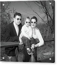 1950s Family Portrait With Sunglasses Acrylic Print