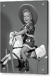 1950s Girl Dressed As Cowgirl Riding Acrylic Print