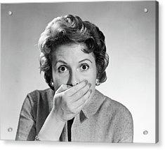 1950s Head Shot Of Startled Woman Acrylic Print