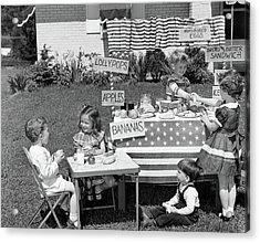 1950s Kids In Backyard Playing Store Acrylic Print