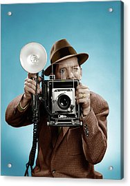 1950s Press Photographer Man Holding Acrylic Print