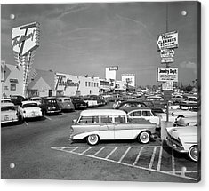 1950s Shopping Center Parking Lot Acrylic Print