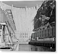 1950s Shot Of Hoover Dam Taken From End Acrylic Print