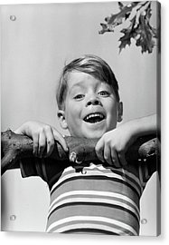 1950s Smiling Boy Doing Chin-up On Tree Acrylic Print