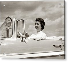 1950s Smiling Woman Driving Chevrolet Acrylic Print