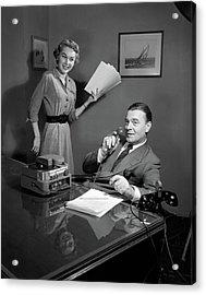 1950s Smiling Woman Secretary Holding Acrylic Print