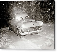 1950s Snow Covered Automobile Driving Acrylic Print