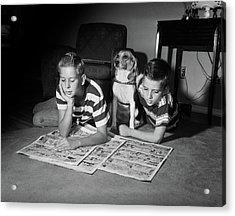 1950s Two Boys Reading Sunday Comics Acrylic Print