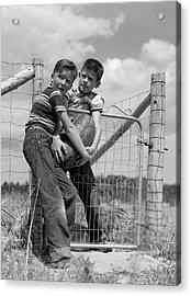1950s Two Farm Boys In Striped T-shirts Acrylic Print