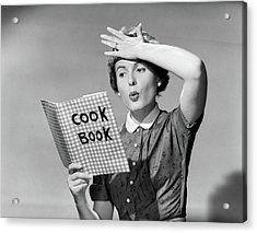 1950s Woman Holding Hand On Forehead Acrylic Print