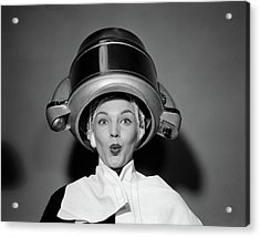 1950s Woman Under Hair Dryer With Towel Acrylic Print