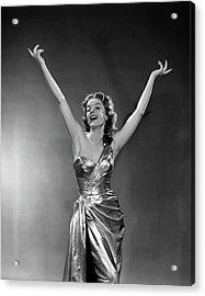 1950s Woman Wearing Elegant Gold Lame Acrylic Print
