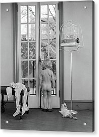 1950s Young Girl Nude Back To Camera Acrylic Print