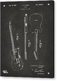 1951 Fender Electric Guitar Patent Artwork - Gray Acrylic Print