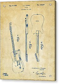 1951 Fender Electric Guitar Patent Artwork - Vintage Acrylic Print by Nikki Marie Smith
