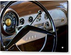 1951 Ford Crestliner Steering Wheel Acrylic Print by Jill Reger