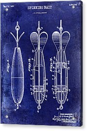 1951 Spinning Bait Patent Drawing Blue Acrylic Print