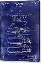 1951 Toy Jet Patent Drawing Blue Acrylic Print