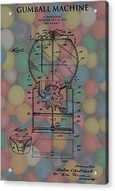 1952 Gumball Machine Patent Poster Acrylic Print by Dan Sproul