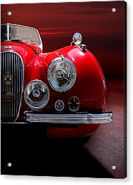 1952 Jaguar Xk120 Sport Car Red Colour On Sunset Acrylic Print by Radoslav Nedelchev