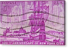 1953 300th Anniversary Of New York City Stamp Acrylic Print by Bill Owen