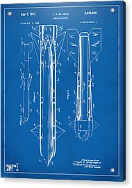 1953 Aerial Missile Patent Blueprint Acrylic Print by Nikki Marie Smith