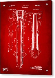 1953 Aerial Missile Patent Red Acrylic Print by Nikki Marie Smith