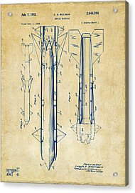 1953 Aerial Missile Patent Vintage Acrylic Print by Nikki Marie Smith
