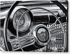 1953 Buick Super Dashboard And Steering Wheel Bw Acrylic Print