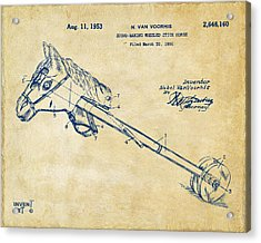 1953 Horse Toy Patent Artwork Vintage Acrylic Print by Nikki Marie Smith