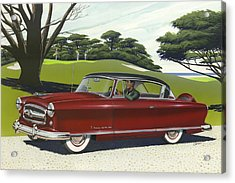 1953 Nash Rambler Car Americana Rustic Rural Country Auto Antique Painting Red Golf Acrylic Print by Walt Curlee